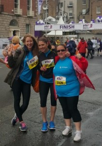At the Finish Line! and Andreea and Laura from Northern Cross and Silvia from Central Park!