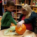 Scooping out the pumpkin in Lucan